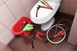 Toilet surrounded by plumbing tools