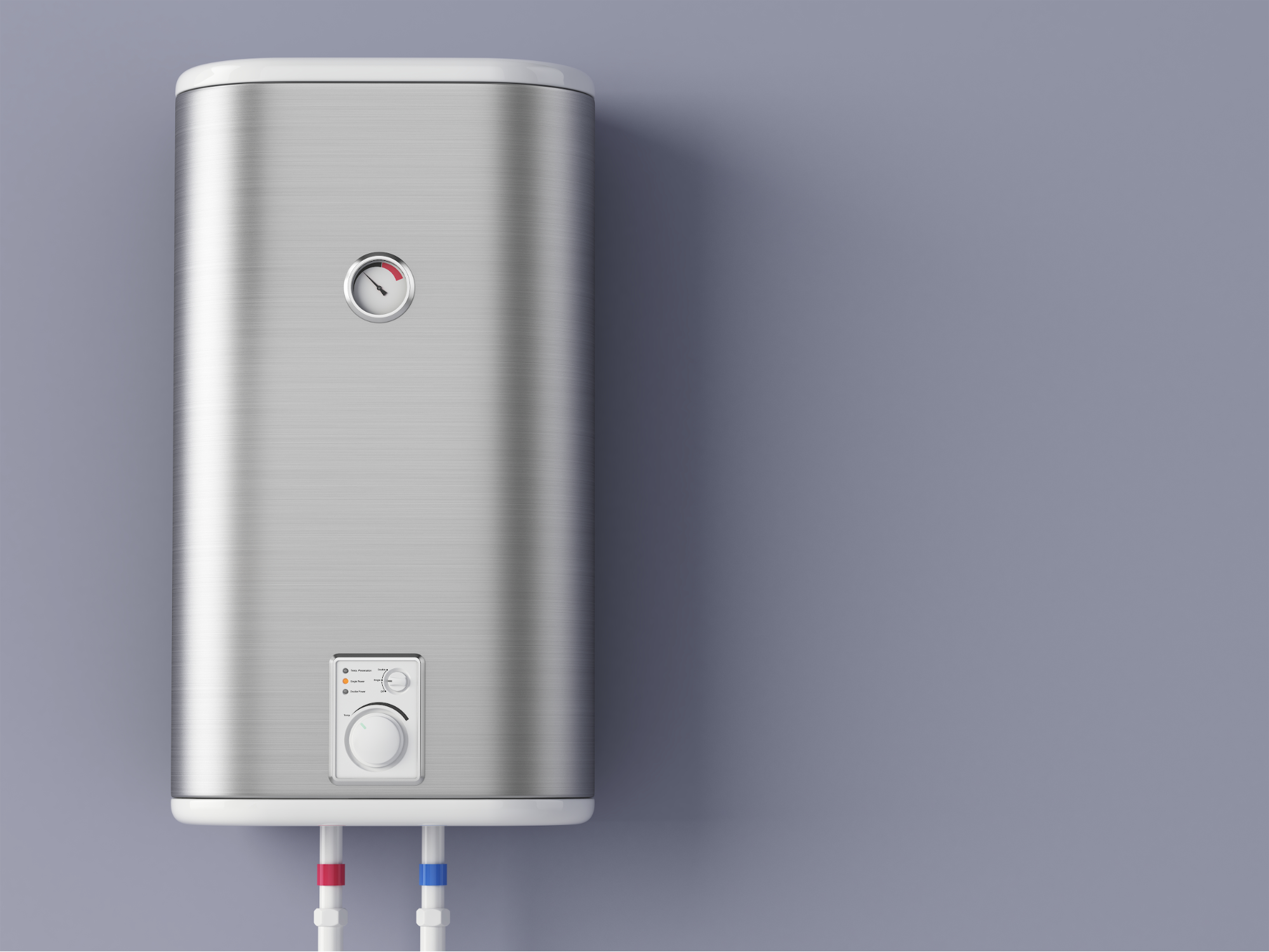 Water heater against a gray background. Reichelt Plumbing, Inc.